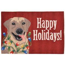 "Liora Manne Frontporch Happy Holidays Indoor/Outdoor Rug - Red, 30"" By 48"""