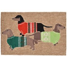"""Liora Manne Frontporch Holiday Hounds Indoor/Outdoor Rug - Natural, 24"""" By 36"""""""