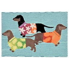 """Liora Manne Frontporch Tropical Hounds Indoor/Outdoor Rug - Blue, 30"""" By 48"""""""