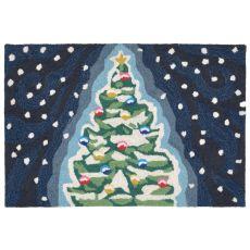 "Liora Manne Frontporch Xmas Tree Indoor/Outdoor Rug - Navy, 20"" By 30"""