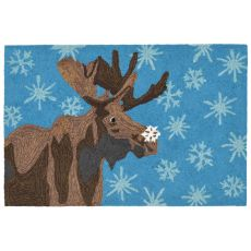 "Liora Manne Frontporch Moose & Snowflake Indoor/Outdoor Rug - Blue, 30"" By 48"""