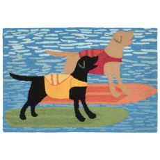 "Liora Manne Frontporch Surfboard Dogs Indoor/Outdoor Rug - Blue, 24"" by 36"""