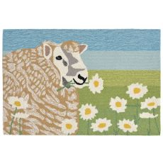 "Liora Manne Frontporch Sheep Thrills Indoor/Outdoor Rug Green 24""X36"""