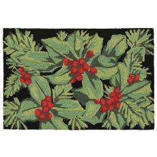 """Liora Manne Frontporch Hollyberries Indoor/Outdoor Rug Black 27""""X72"""""""