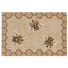 """Liora Manne Frontporch Honeycomb Bee Indoor/Outdoor Rug Natural 30""""X48"""""""
