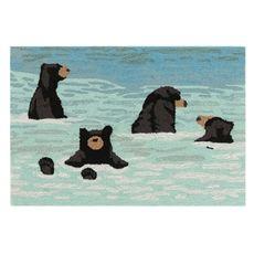 "Liora Manne Frontporch Bathing Bears Indoor/Outdoor Rug Water 30""x48"""