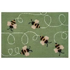 "Liora Manne Frontporch Buzzy Bees Indoor/Outdoor Rug Green 30""X48"""