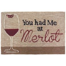 "Liora Manne Frontporch You Had Me At Merlot Indoor/Outdoor Rug Neutral 30""X48"""