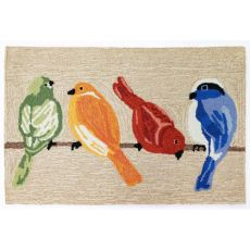 "Liora Manne Frontporch Birds Indoor/Outdoor Rug Neutral 24""X36"""