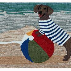 """Liora Manne Frontporch Coastal Dog Indoor/Outdoor Rug Ocean 30""""x48"""""""