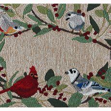 """Liora Manne Frontporch Bird Border Indoor/Outdoor Rug Natural 20""""x30"""""""