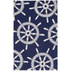 """Liora Manne Frontporch Ship Wheel Indoor/Outdoor Rug - Navy, 42"""" by 66"""""""