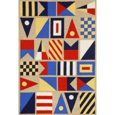 "Liora Manne Frontporch Signal Flags Indoor/Outdoor Rug - Natural, 7'6"" By 9'6"""