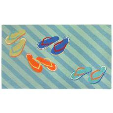 """Liora Manne Frontporch Flip Flops Indoor/Outdoor Rug - Blue, 7'6"""" by 9'6"""""""
