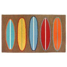 """Liora Manne Frontporch Surfboards Indoor/Outdoor Rug - Brown, 7'6"""" by 9'6"""""""