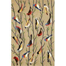 """Liora Manne Frontporch Birds Indoor/Outdoor Rug - Natural, 5' By 7'6"""""""