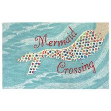 "Liora Manne Frontporch Mermaid Crossing Indoor/Outdoor Rug - Blue, 42"" By 66"""