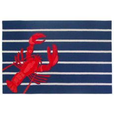 Liora Manne Frontporch Lobster on Stripes Indoor/Outdoor Rug - Navy, 5' by 7'6""