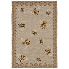 """Liora Manne Frontporch Honeycomb Bee Indoor/Outdoor Rug Natural 42""""x66"""""""