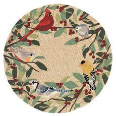 Liora Manne Frontporch Bird Border Indoor/Outdoor Rug Natural 3' RD