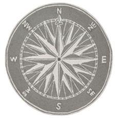 Compass Grey Indoor/Outdoor Rug 8ft Rd