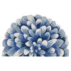 Liora Manne Frontporch Mum Indoor/Outdoor Rug - Blue, 5' Rd