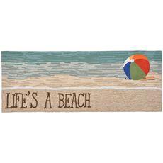 """Liora Manne Frontporch Life's A Beach Indoor/Outdoor Rug Sand 24""""x60"""""""