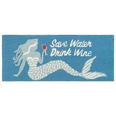 "Liora Manne Frontporch Save Water Drink Wine Indoor/Outdoor Rug Ocean 24""X60"""