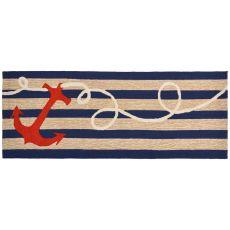 """Liora Manne Frontporch Anchor Indoor/Outdoor Rug - Navy, 27"""" by 72"""""""
