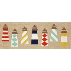 "Liora Manne Frontporch Lighthouses Indoor/Outdoor Rug - Natural, 27"" by 72"""