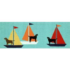 "Liora Manne Frontporch Sailing Dog Indoor/Outdoor Rug - Blue, 27"" by 72"""