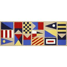 "Liora Manne Frontporch Signal Flags Indoor/Outdoor Rug - Natural, 27"" By 72"""