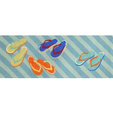 "Liora Manne Frontporch Flip Flops Indoor/Outdoor Rug - Blue, 27"" By 72"""