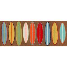 """Liora Manne Frontporch Surfboards Indoor/Outdoor Rug - Brown, 27"""" by 72"""""""