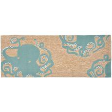 """Liora Manne Frontporch Octopus Indoor/Outdoor Rug - Blue, 27"""" by 72"""""""
