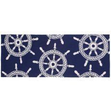 """Liora Manne Frontporch Ship Wheel Indoor/Outdoor Rug - Navy, 27"""" by 72"""""""
