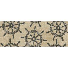 "Liora Manne Frontporch Ship Wheel Indoor/Outdoor Rug - Natural, 27"" by 72"""