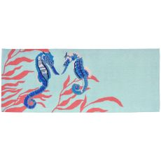 "Liora Manne Frontporch Seahorse Indoor/Outdoor Rug - Blue, 27"" by 72"""