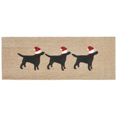 "Liora Manne Frontporch 3 Dogs Christmas Indoor/Outdoor Rug - Natural, 27"" by 72"""