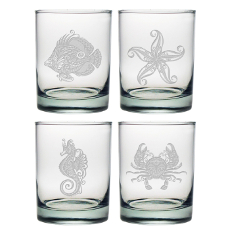 Coastal Sealife Etched Dor Glass Set