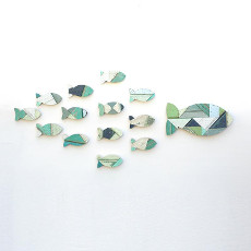 Salvage Wood School of Fish Wall Art
