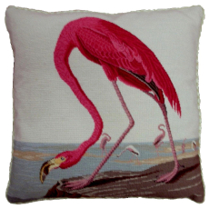 Flamingo I Needlepoint Pillow