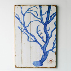 Coral Blue Floorboard Art