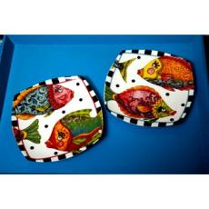 Funky Fish Square Ceramic Dessert Plates (set of 4)