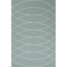 Indoor/Outdoor Tribal Pattern Blue/Ivory  Polypropylene Area Rug (7.6X9.6)