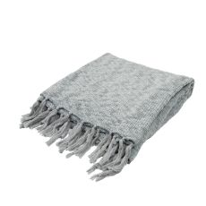 """Soft Hand Solid Pattern Blue Cotton Throw - (50""""x60"""")"""