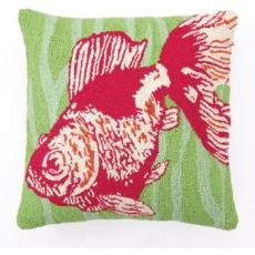 Goldfish Green Hooked Pillow
