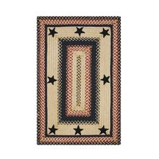Homespice Decor 4' x 6' Rect. Primitive Star Gloucester Jute Braided Rug