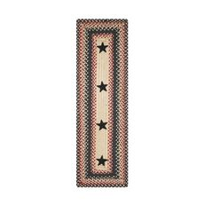 "Homespice Decor 11"" x 36"" Table Runner Rect. Primitive Star Gloucester Jute Braided Accessories"
