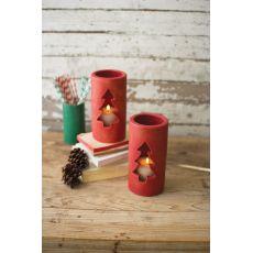 Clay Christmas Tree Luminary - Red #1, Set of 6